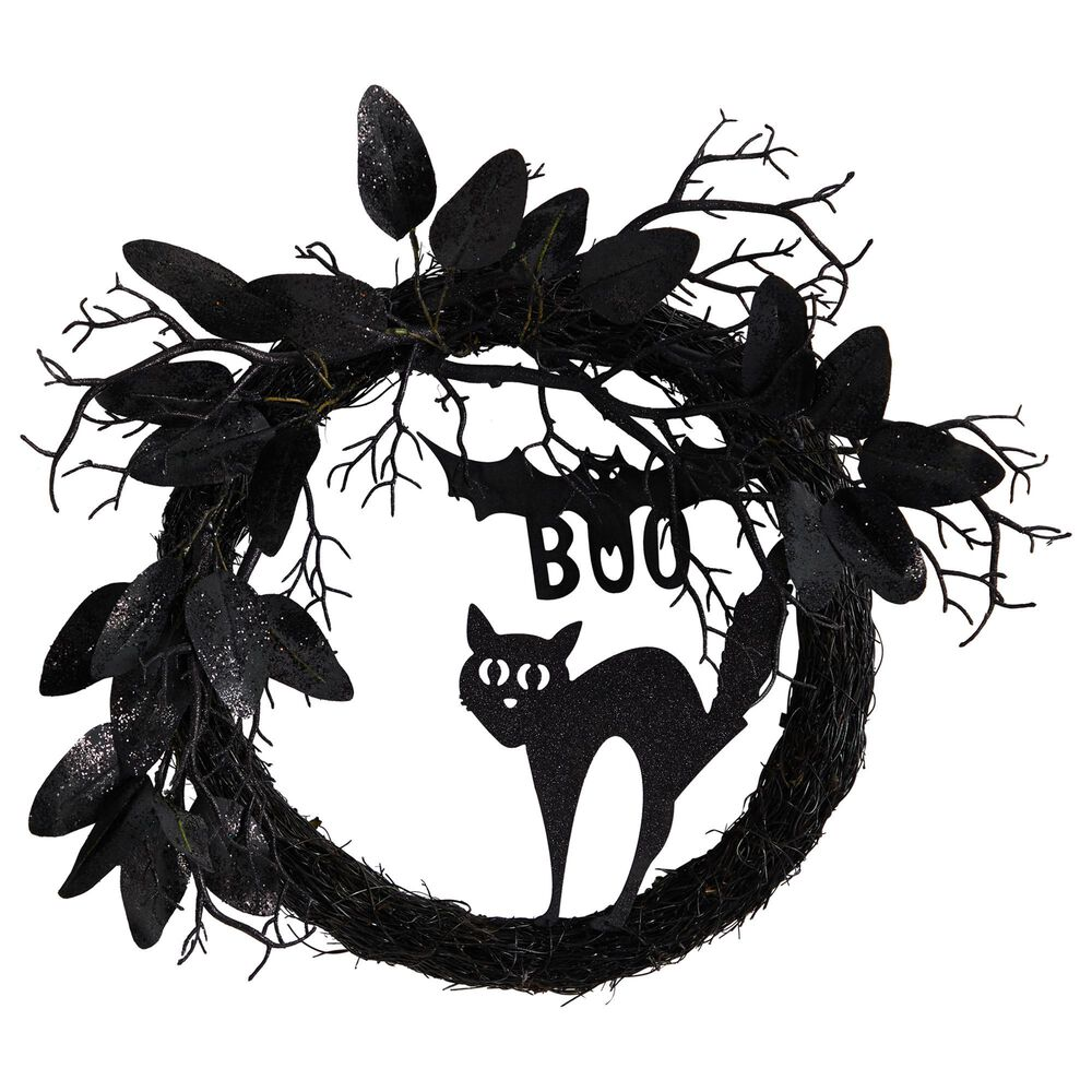 Nearly Natural Inc 22in. Halloween Black Cat and Bat Boo Twig Wreath, , large