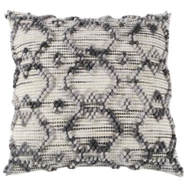 """Rizzy Home 20"""" x 20"""" Pillow Cover in White, Gray and Black, , large"""