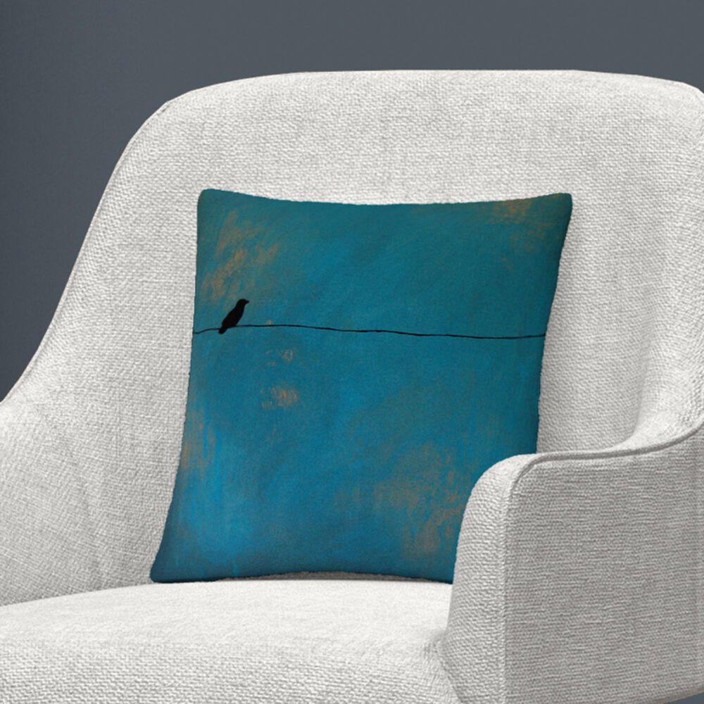 Timberlake Nicole Dietz 'Lone Bird Blue' 16 x 16 Decorative Throw Pillow, , large