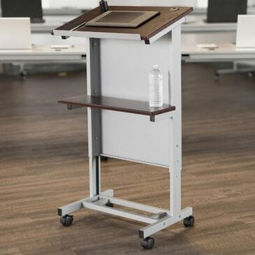 Luxor Adjustable-Height Mobile Podium in Silver and Walnut, , large