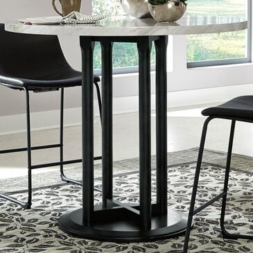 Signature Design by Ashley Centiar Round Counter Table in Replicated Marble and Black, , large