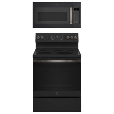 """GE Appliances 2-Piece Kitchen Package with 30"""""""" Electric Range and 1.9 Cu. Ft. Microwave Oven in Black Slate, , large"""