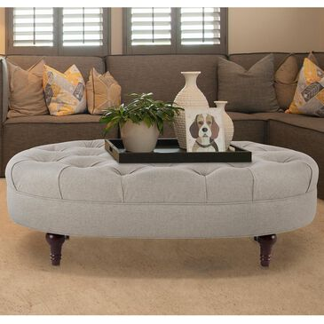 Jennifer Taylor Home Petra Tufted Oval Accent Bench in Taupe, , large
