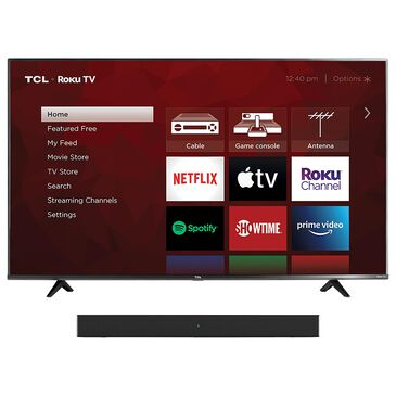 """TCL 50"""" Class 4 Series LED 4K UHD Smart Roku TV with Alto 3 2.0 Channel Sound Bar in Black, , large"""