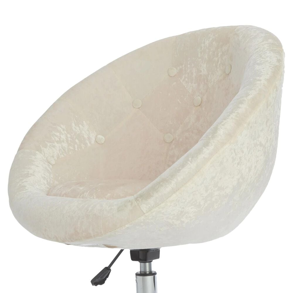 Impressions Vanity Antoinette Vanity Chair with White Crushed Velvet Cushion in Stainless Steel, , large