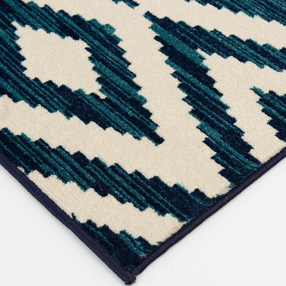 """Central Oriental Terrace Tropic Scalene 2345GGS.085 7'10"""" x 9'10"""" Snow and Sapphire Area Rug, , large"""