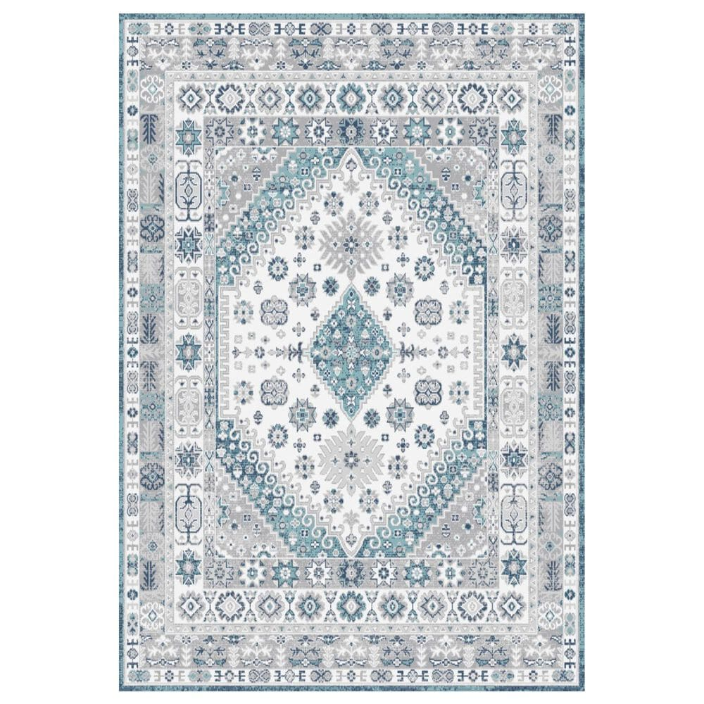 """Central Oriental Sientan Veati 2521.259 7'10"""" x 9'10"""" Cream and Light Blue Area Rug, , large"""