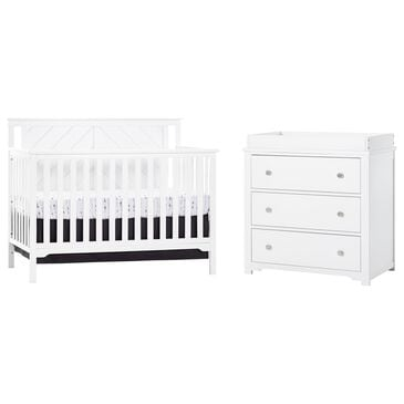 Foundations Worldwide Hampton Flat Top Crib and Dresser in Matte White, , large