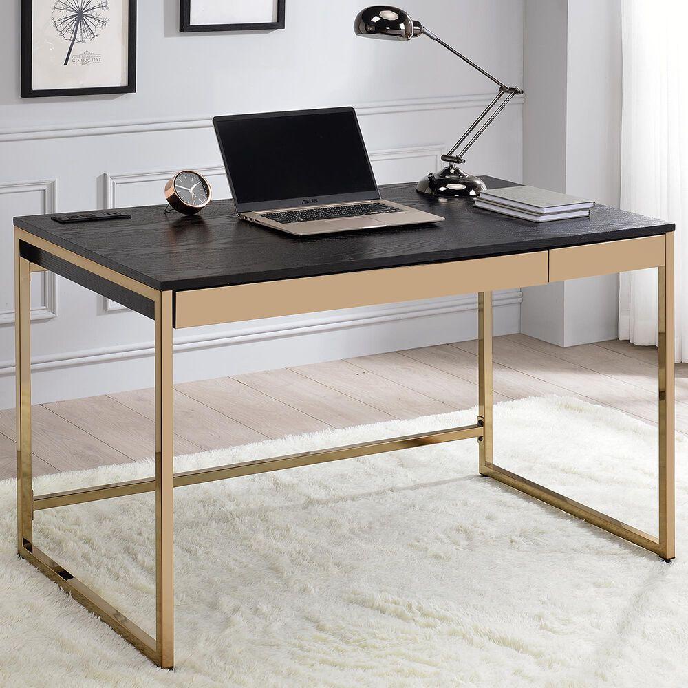 Furniture of America Norman Writing Desk in Black/Copper, , large