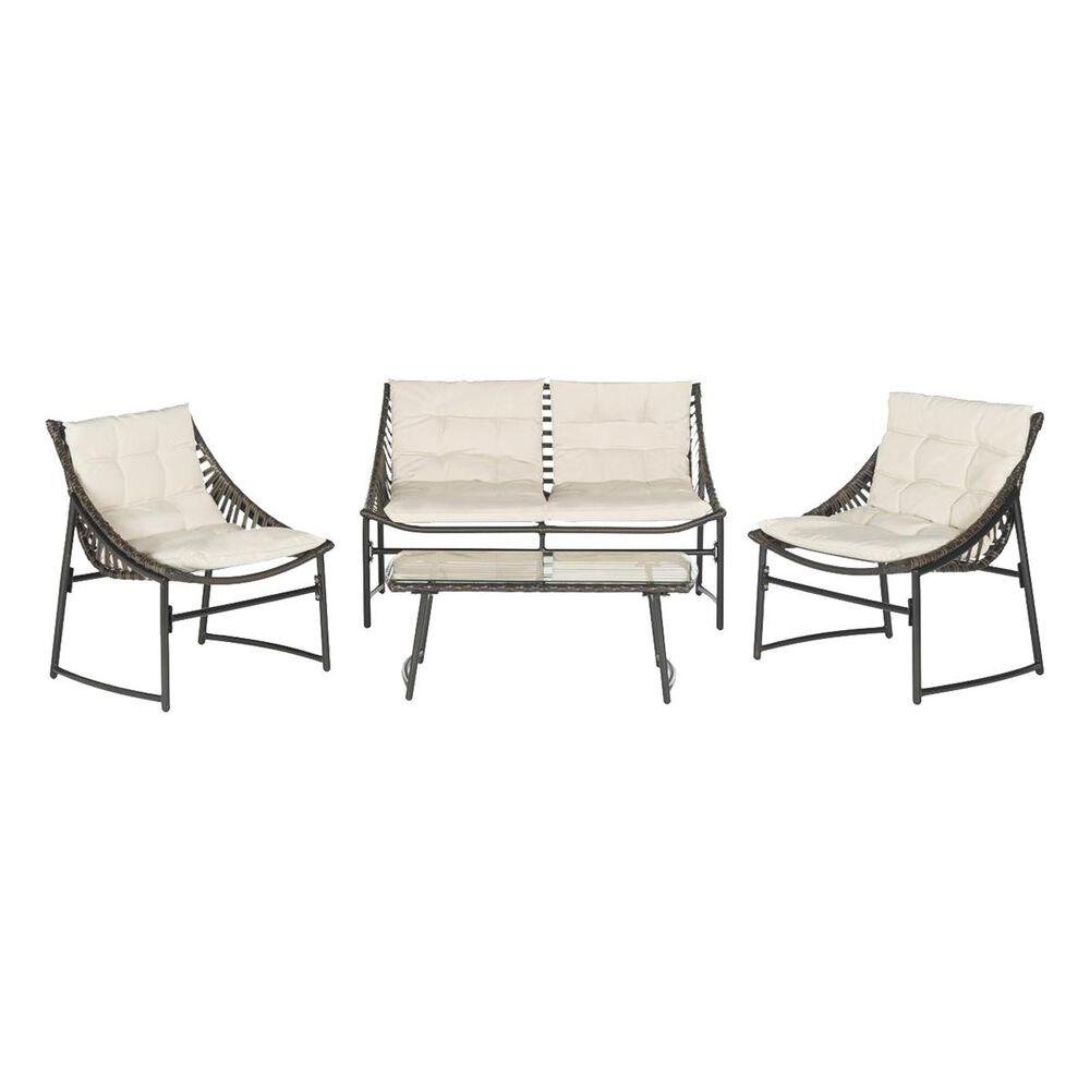 Safavieh 4-Piece Berkane Conversation Set with Beige Cushion in Brown, , large