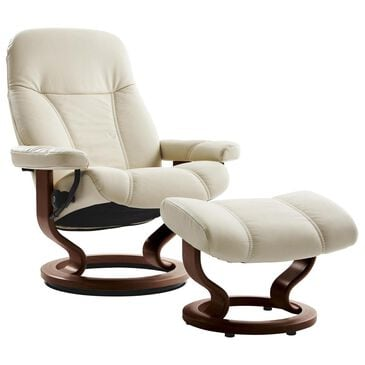 Ekornes Consul Small Chair and Ottoman with Brown Base in Batick Cream, , large
