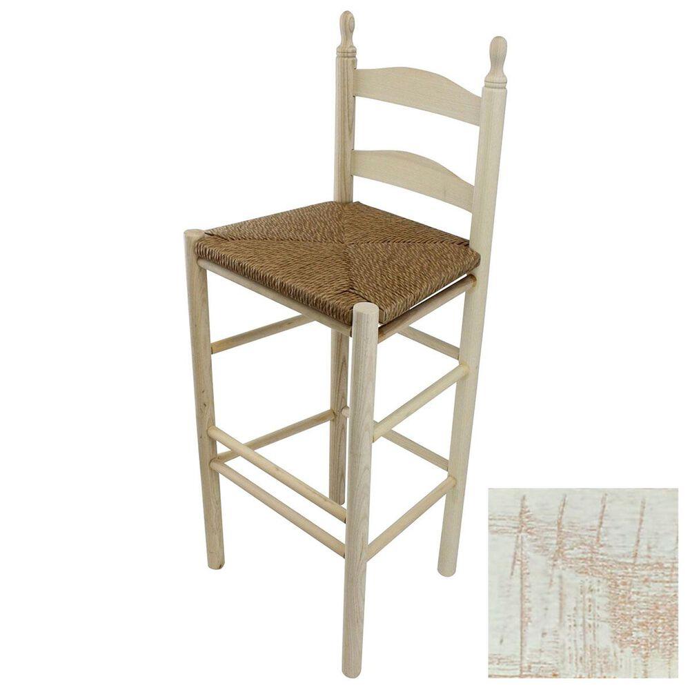 Lakeside Calabash Ladderback Barstool in Woodleaf White, , large