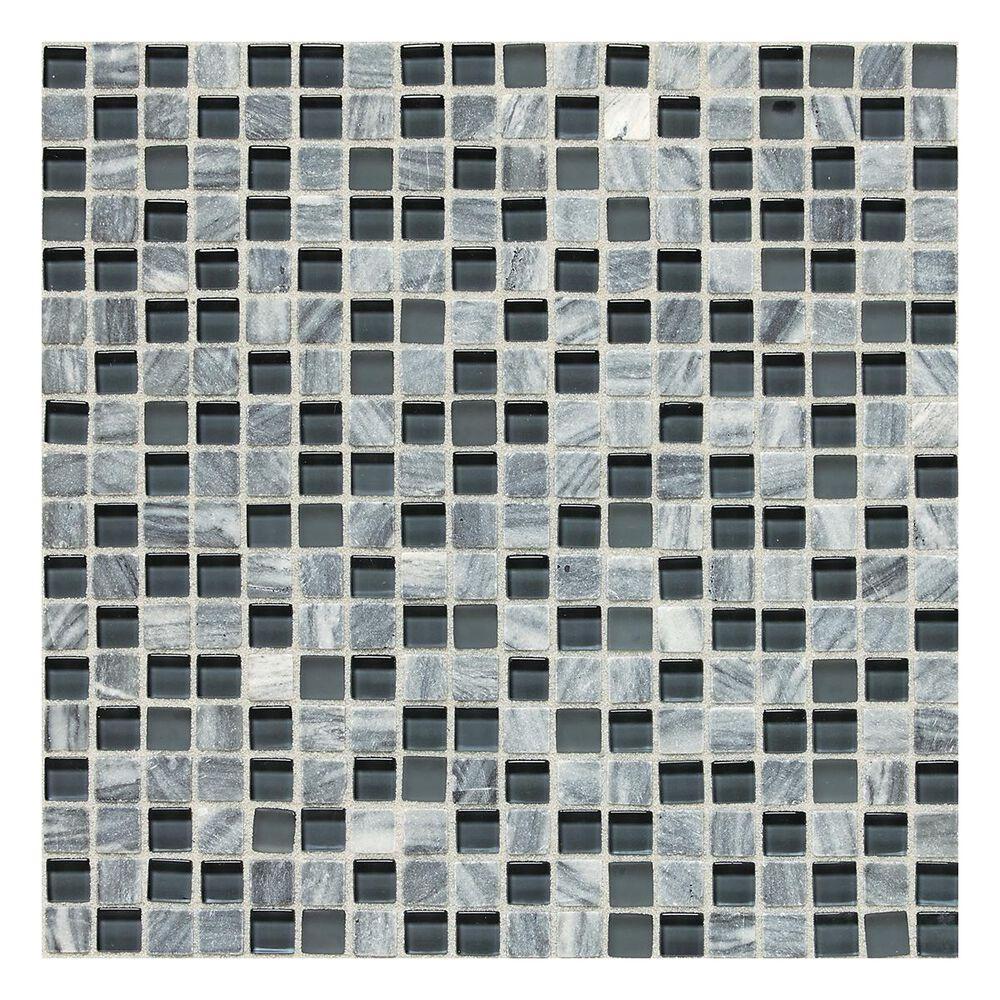 "Dal-Tile Stone Radiance 5/8"" x 5/8"" Slate Mosaic Tile in Glacier Gray Marble, , large"