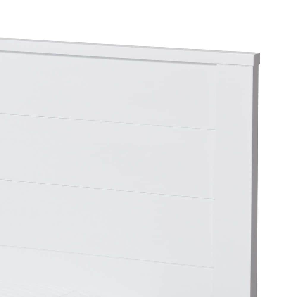Baxton Studio Catalina Twin Platform Bed with Trundle in White, , large