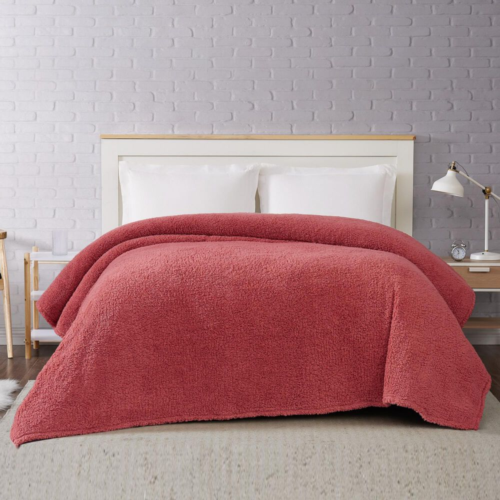 Pem America Brooklyn Loom Marshmallow Twin XL Blanket in Dusty Rose, , large