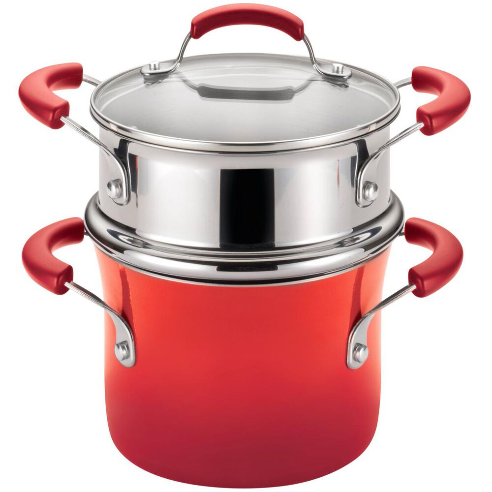 Rachael Ray 3qt Covered Saucepot w/Steamer Insert in Red, , large
