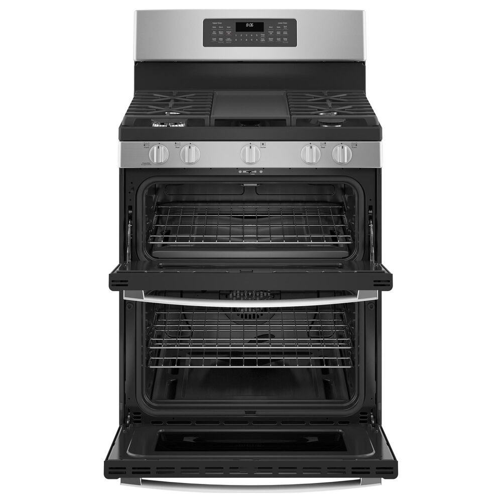 """GE Appliances 30"""" Freestanding Gas Double Oven Range with Convection in Stainless Steel, , large"""