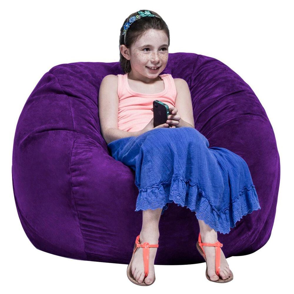 Jaxx 3' Round Bean Bag with Removable Cover in Grape, , large
