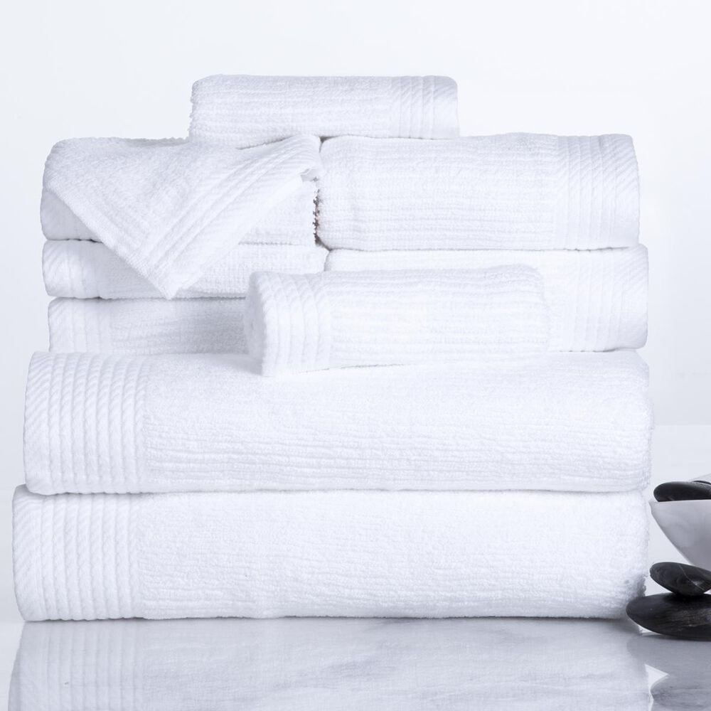 Timberlake Lavish Home Ribbed 100% Cotton 10 Piece Towel Set, , large