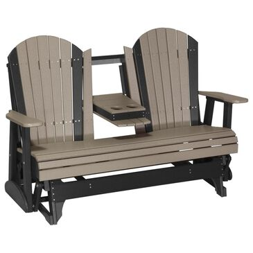 Amish Orchard 5' Adirondack Glider in Weatherwood and Black, , large