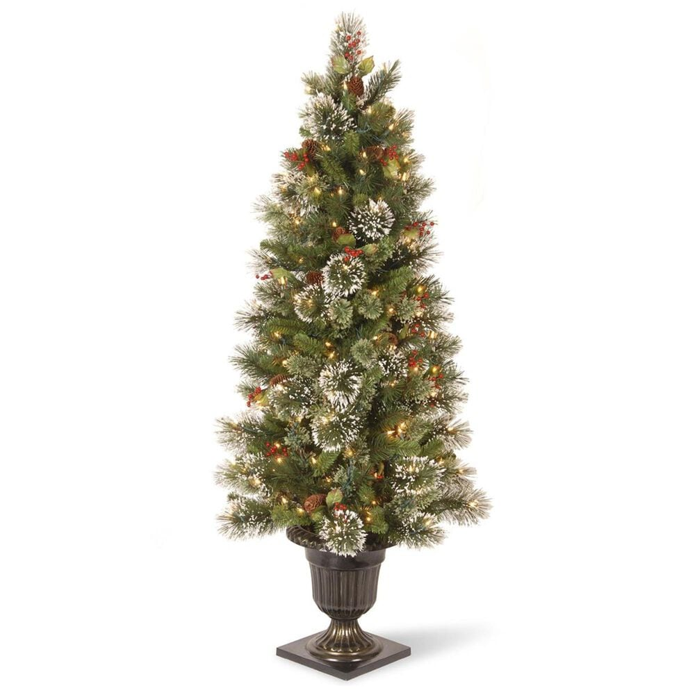 """National Tree 5"""" Wintry Pine Entrance Tree with Cones, Red Berries, Snowflakes & 100 White Lights, , large"""