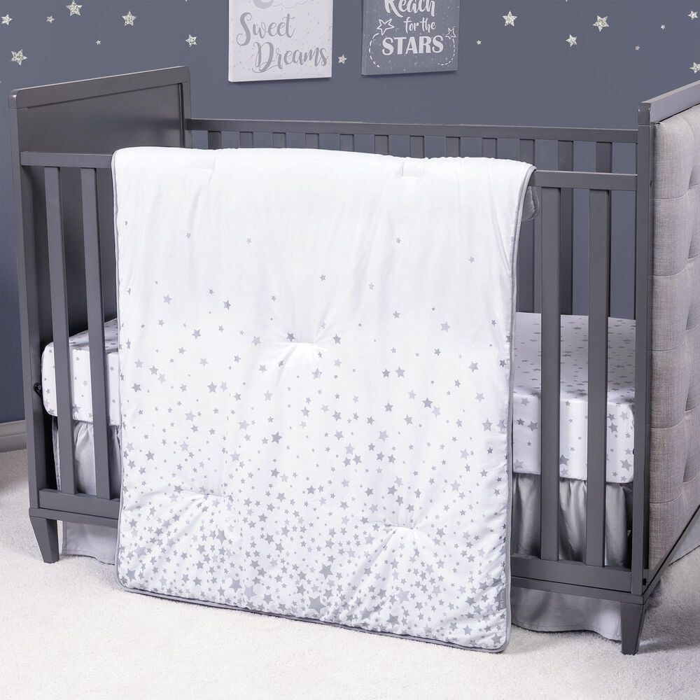 Trend Labs Sprinkle Stars 3-Piece Crib Bedding Set in Gray and White, , large