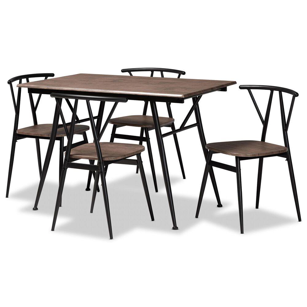 Baxton Studio Ciara 5-Piece Dining Set in Walnut/Black, , large