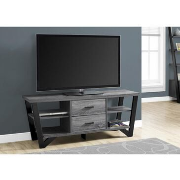 "Monarch Specialties 60"" TV Stand with 2 Storage Drawers in Grey and Black, , large"