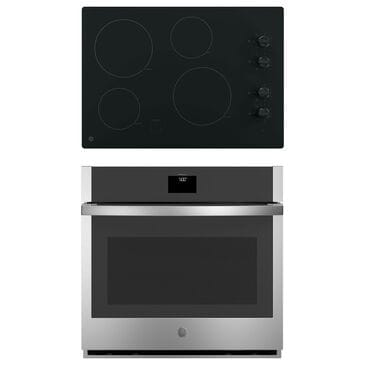 """GE Appliances 2-Piece Kitchen Package with 30"""" Electric Cooktop and Convection Single Wall Oven in Black and Stainless Steel, , large"""