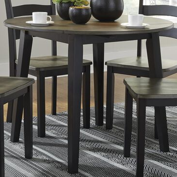 Signature Design by Ashley Froshburg Round Drop Leaf Table in Grayish Brown and Black - Table Only, , large