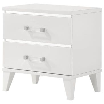 Gunnison Co. Chelsie 2 Drawer Nightstand in White, , large
