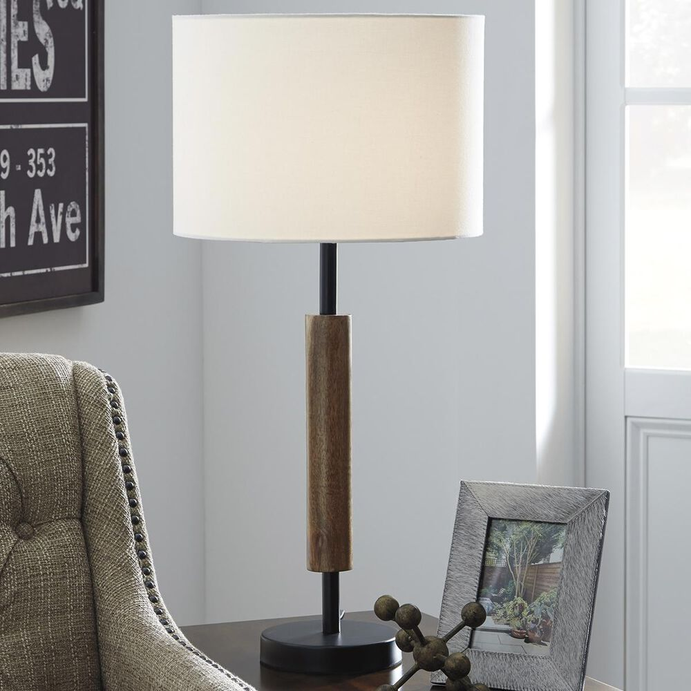 Signature Design by Ashley Maliny 2-Piece Wood Table Lamp in Black/Brown, , large
