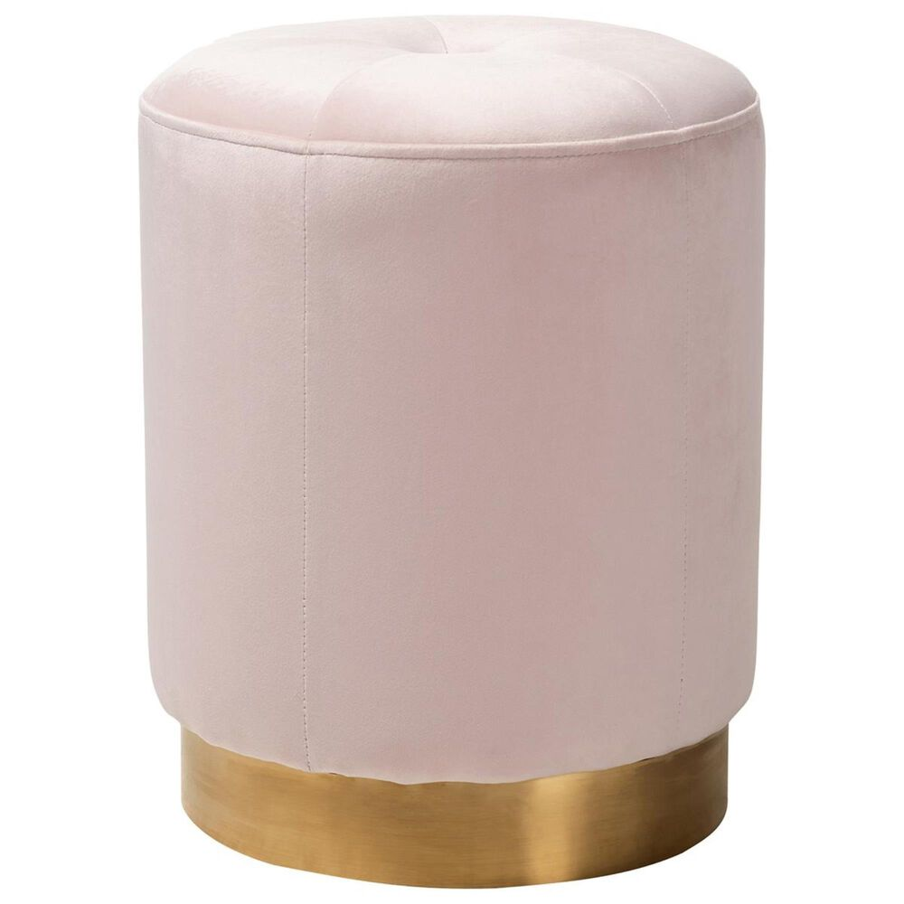 Baxton Studio Alonza Ottoman in Pink and Gold, , large
