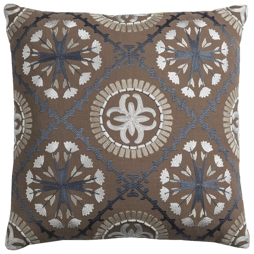 """Rizzy Home 18"""" x 18"""" Pillow Cover in Brown, Blue and White, , large"""