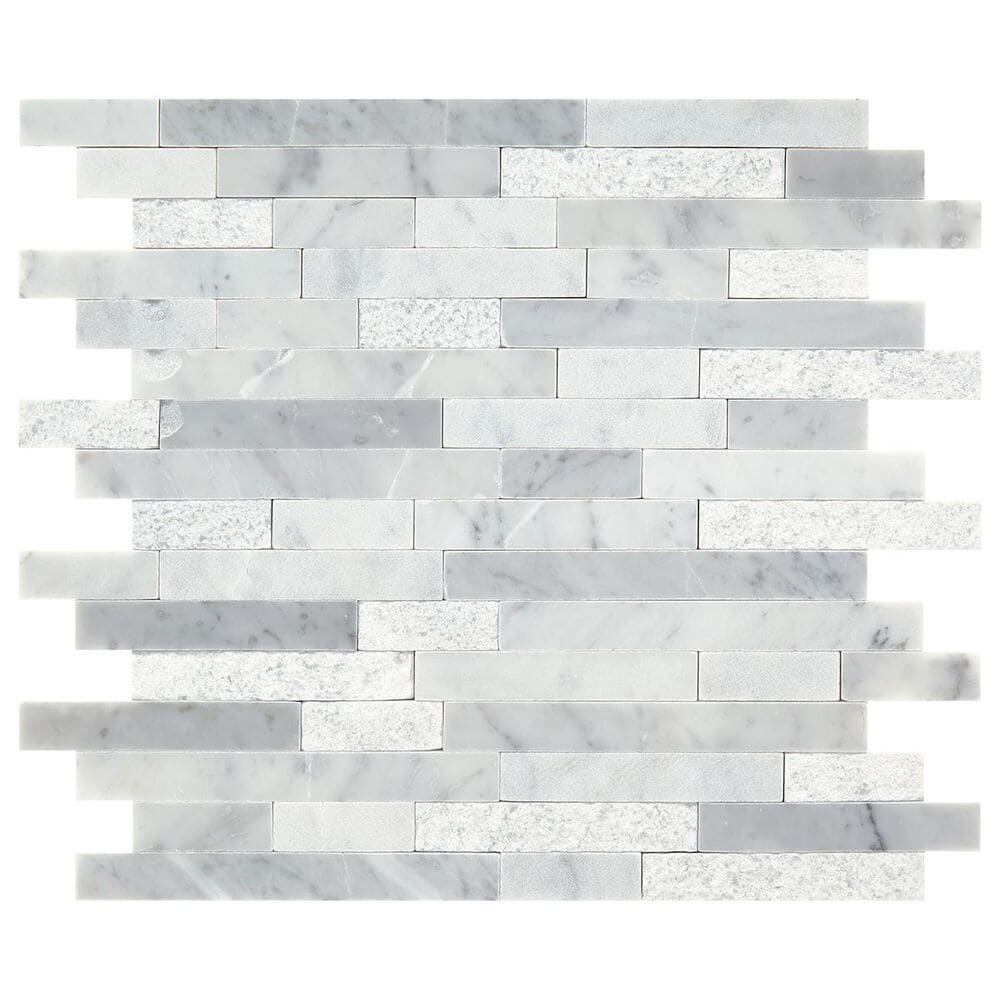 "Dal-Tile Minute Mosaix Carrara White 12""x12"" Linear Random Mosaic Sheet, , large"