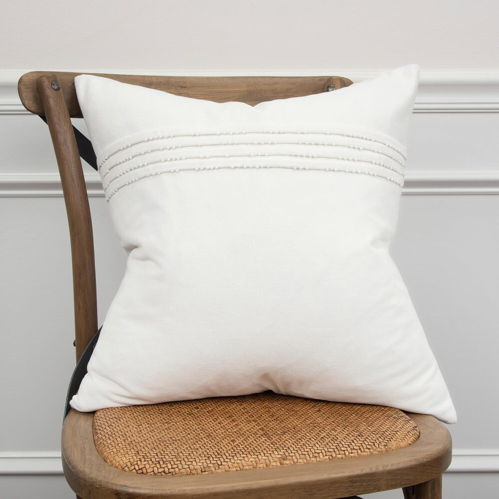 """Rizzy Home Solid 20"""" Poly Filled Pillow in White, , large"""