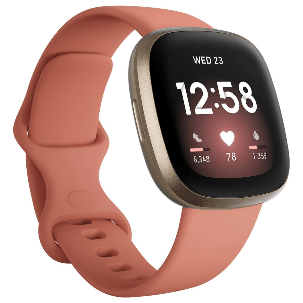 Fitbit Versa 3 Fitness Smartwatch with Pink Clay Band in Soft Gold, , large