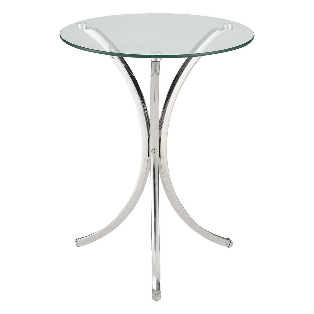 Pacific Landing Tempered Glass Accent Table in Chrome, , large