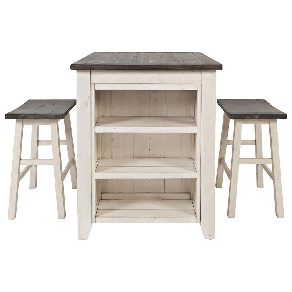 Waltham Madison County 3-Piece Counter Dining Set in Vintage White and Barnwood, , large
