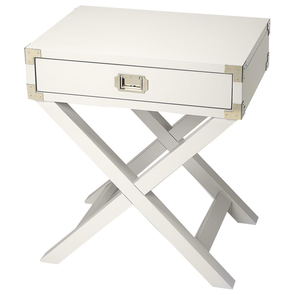 Butler Anew Campaign Side Table in White, , large