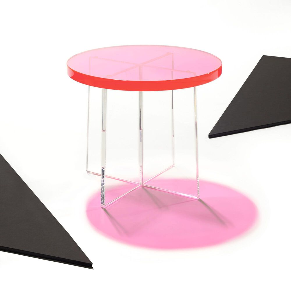 Safavieh Edwards Accent Table in Neon Pink, , large