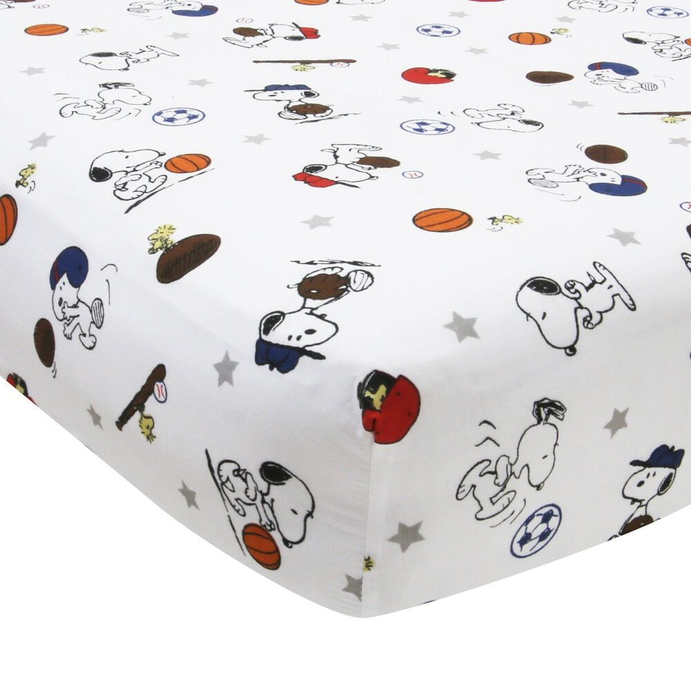 Lambs and Ivy Snoopy Sports Baby Fitted Crib Sheet, , large
