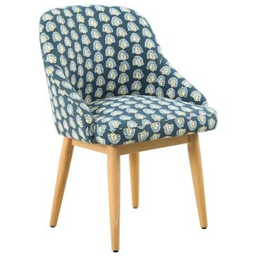 Kinfine Riley Accent Chair in Turquoise with Natural Wood Finished Legs, , large