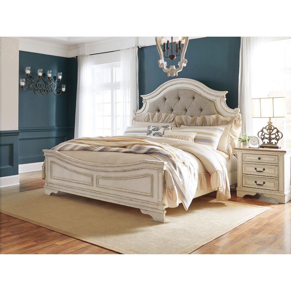 Signature Design by Ashley Realyn King/California King Upholstered Panel Headboard in Chipped White, , large