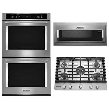 """Whirlpool 3-Piece Kitchen Package with 30"""" Built-In Convection Double Wall Oven and 14"""" Microwave in Stainless Steel, , large"""