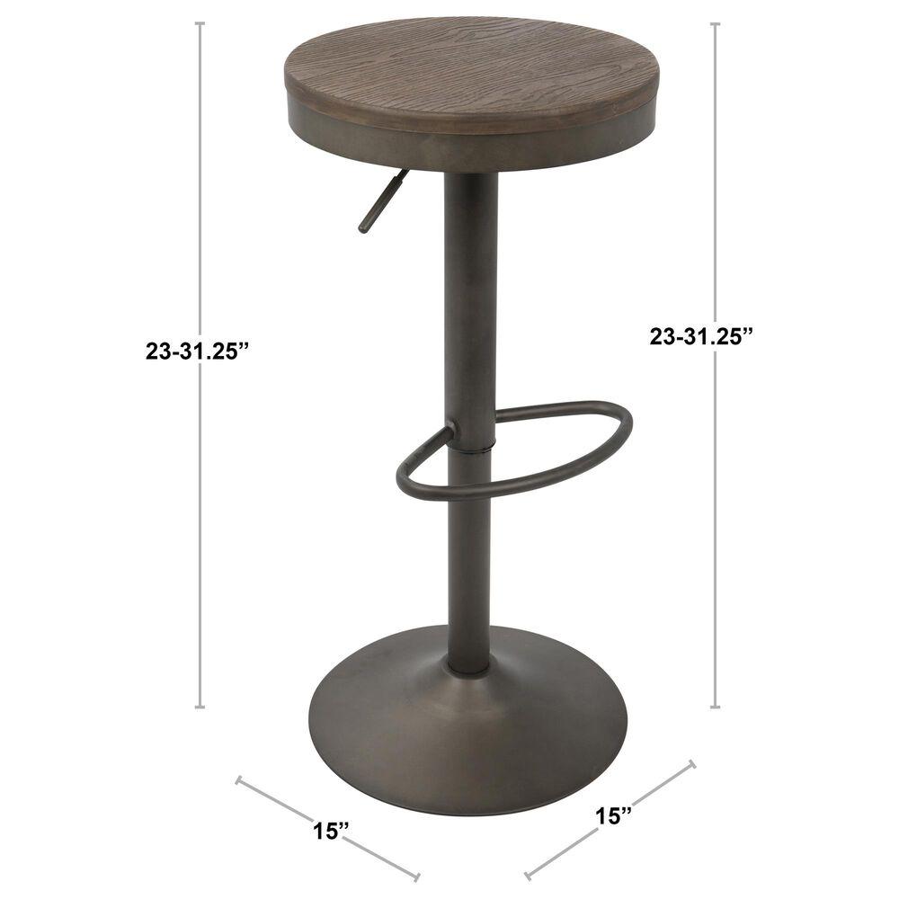 Lumisource Dakota Adjustable Barstool in Brown/Antique (Set of 2), , large