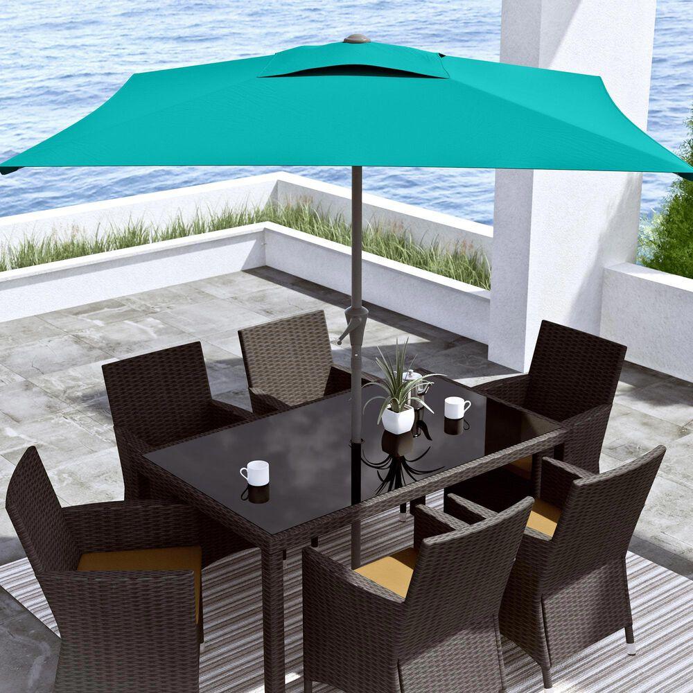 CorLiving 9' Square Tilting Patio Umbrella in Turquoise Blue, , large