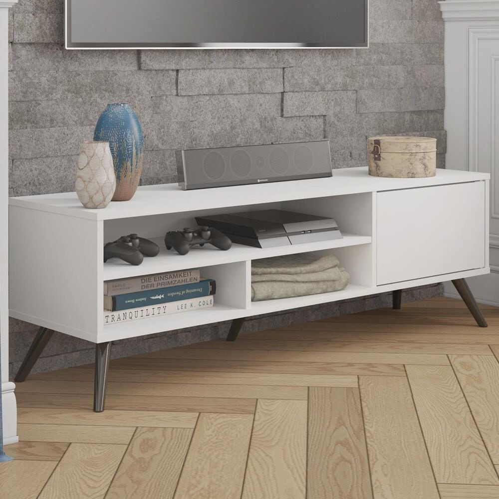 """Bestar Small Space Krom TV Stand for TVs up to 56"""" in White, , large"""