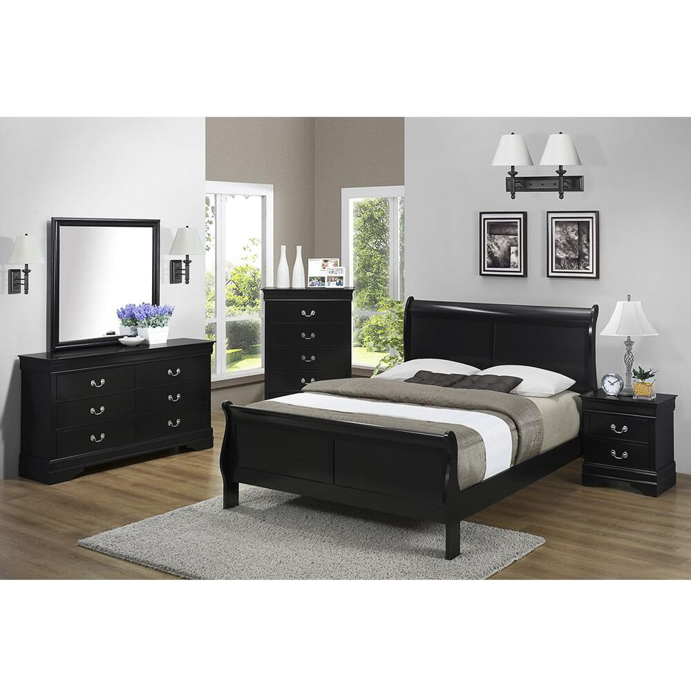 Claremont Louis Philip Full Sleigh Bed in Black, , large