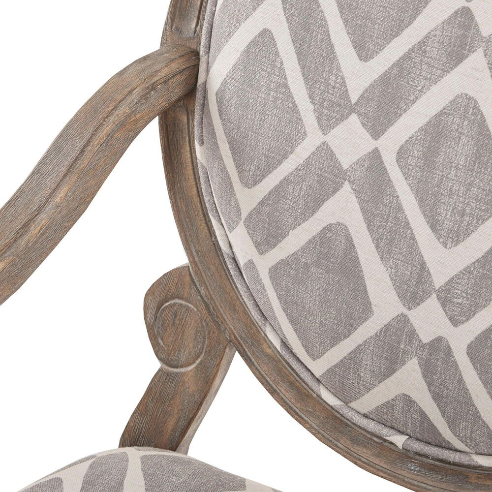 Hampton Park Brentwood Arm Chair in Grey and White, , large
